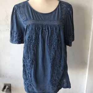 Lucky Brand Embroidered Denim Blue Top